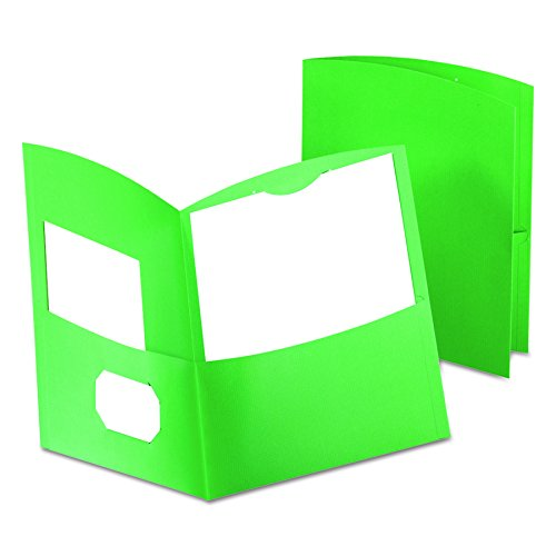 Oxford Contour Twin Pocket Folders, Green, 25 Per Box (Stock Twin Pocket Portfolios)