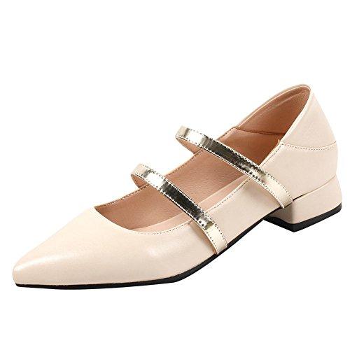 Mee Shoes Women's Cute Low Block Heel Slip On Court Shoes Beige
