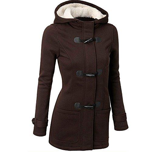 VESNIBA Women Windbreaker Outwear Warm Wool Slim Long Coat Jacket Trench -