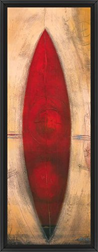 22in x 61in Triptyque Rouge II by Carole Becam - Black Floater Framed Canvas w/ BRUSHSTROKES - Triptyque Rouge