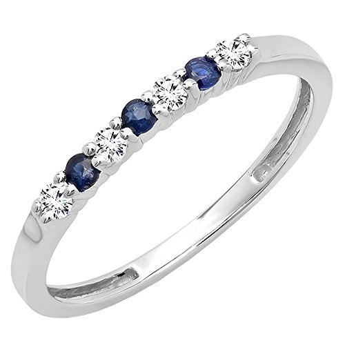 Dazzlingrock Collection 14K Round Blue Sapphire And White Diamond 7 Stone Bridal Wedding Band, White Gold, Size 6