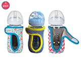 8oz (Set of 3 pcs) Miracle Bean Neoprene Baby Bottle Sleeves - Adjustable Sleeves. Glass Bottles - Improved Heat/Cold Retention - Moisture, Non-Slip Grip - Fox, Elephant and New Color Heather Grey