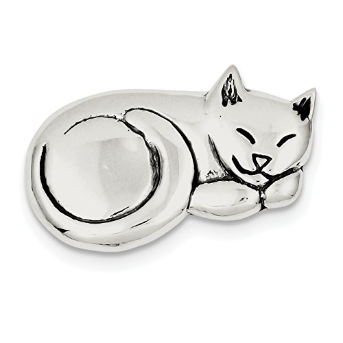 925 Sterling Silver Antiqued Sleeping Cat Pin