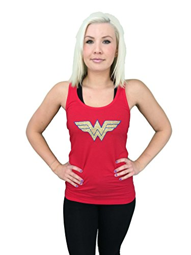 Wonder+Woman+Shirts Products : 'Wonder Woman' Fitted Women's GLITTER Tank Top - Cotton, Polyester Blend