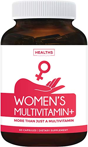 Women's Multivitamin+ (NON-GMO) Daily Vitamins & Minerals Plus Energy Boost, Hair, Eye Health & Antioxidants: With Biotin, Zinc, Selenium & Lutein - Multivitamin For Women - 60 Capsules (Multi Tablet)