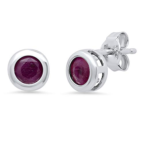 Genuine Ruby Bezel Set Stud Earrings in Sterling Silver (5mm)