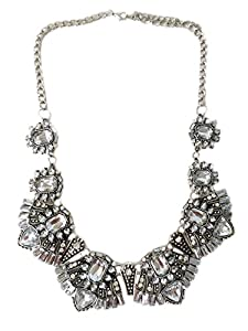 1920s Gatsby Jewelry- Flapper Earrings, Necklaces, Bracelets Chunky Statement Classic Art Deco Clear Crystal Rhinestone Antique Style Statement Choker Collar Wedding Bridal Prom Necklace $24.99 AT vintagedancer.com