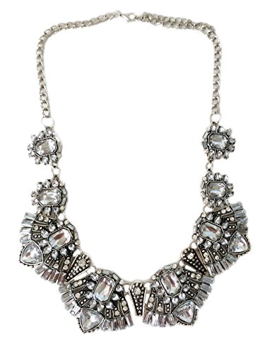 Secret for Longevity Classic Art Deco Clear Crystal Rhinestone Antique Style Statement Choker Collar Wedding Bridal Prom Chunky Statement Necklace ()