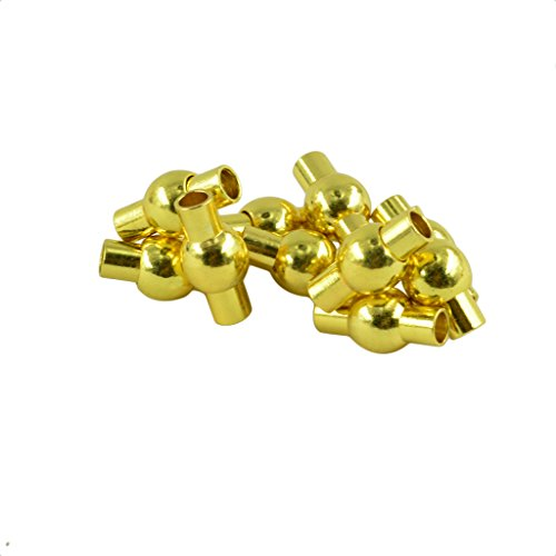 Jili Online 10Pcs Barrel Magnetic Cord Ends Caps Clasp with Glue-in Ends Jewelry Finding 3Colors for Pick - Gold