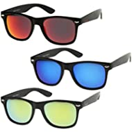 zeroUV - Matte Finish Reflective Color Mirror Lens Large Square Horn Rimmed Sunglasses 55mm