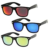 zeroUV - Matte Finish Reflective Color Mirror Lens Large Square Horn Rimmed Sunglasses 55mm (3 Pack | Blue + Red + Yell) offers