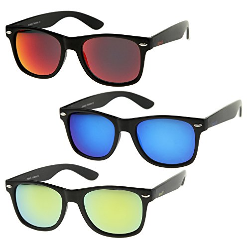 zeroUV - Matte Finish Reflective Color Mirror Lens Large Square Horn Rimmed Sunglasses 55mm (3 Pack | Blue + Red + Yell)
