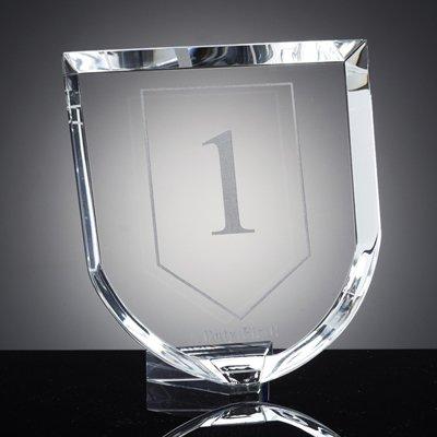 - Customizable Optical Cut Crystal Shield Award