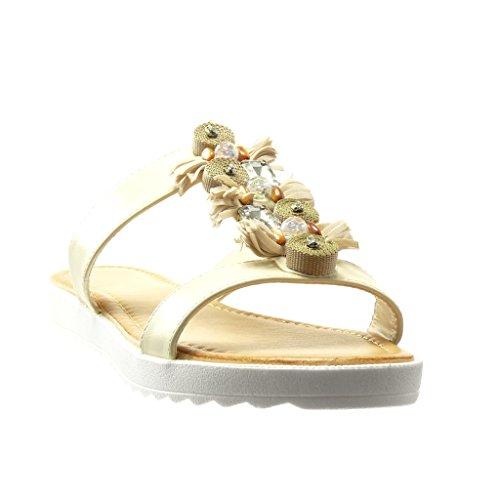 Angkorly - Chaussure Mode Sandale Mule femme bijoux frange pom-pom Talon plat 2 CM - Beige