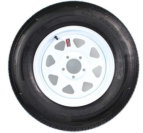 Radial Trailer Tire On White Rim ST205/75R15 Load C 5 Lug On 5 Spoke Wheel