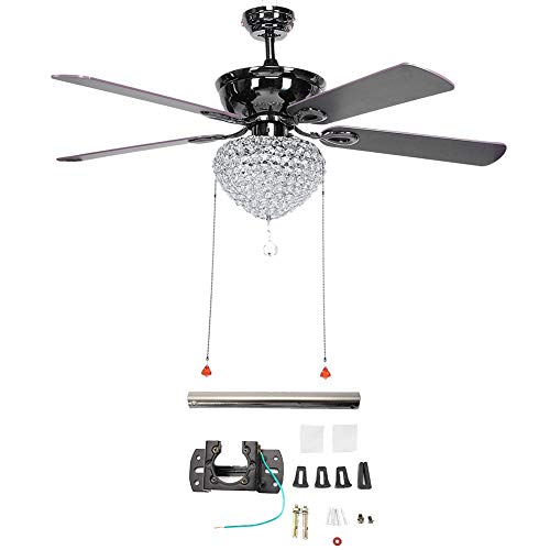 Yosooo LED Ceiling Fan Light,52inch Retro Crysta Blades Lamp with Pull Switch for Home Living Room Indoor