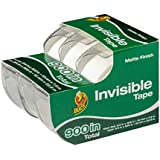 Duck Brand Matte Finish Invisible Tape Gift Wrap Dispenser 3-Pack, Clear, 0.75 x 300 Inches