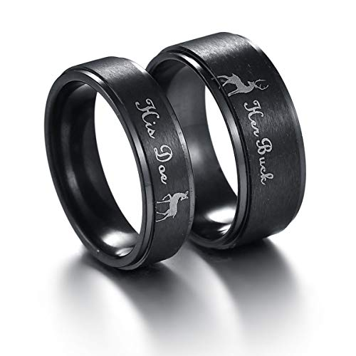 Stainless Steel Couples Ring His & Hers Real Love Heart Engraved Her Buck His Doe Elk Promise Ring Wedding (His Her Doe)