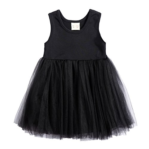 Baby Girl Dress Toddler / Kids Pleated Princess Tutu Skirt with Tshirt Top (104cm(36-48M), black-short)