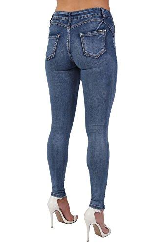 Denim Blu In Tinta Unita Elasticizzati Aderenti Jeans qtwHOO