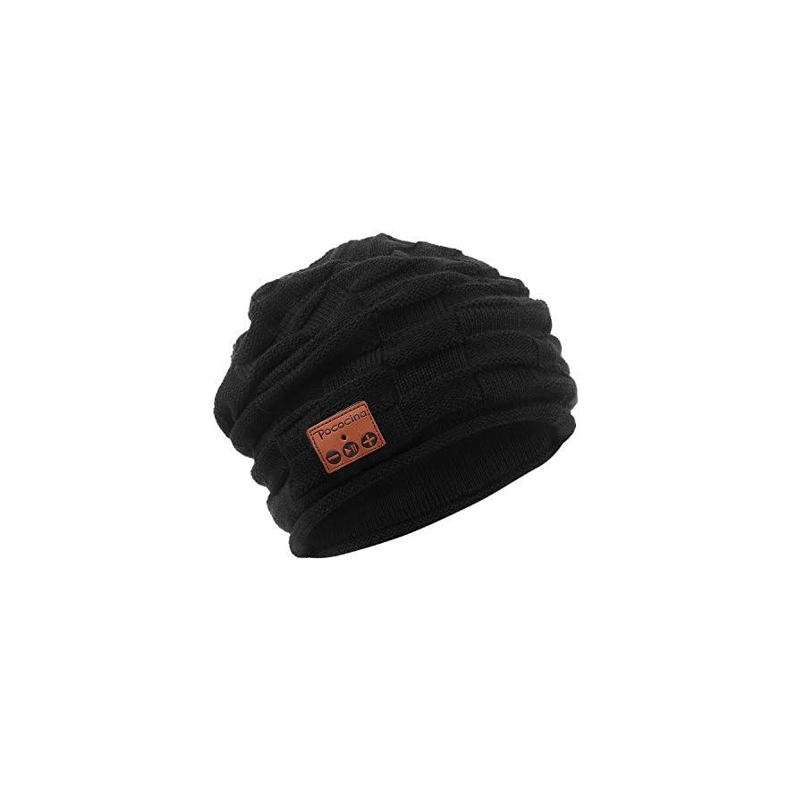 Pococina Wireless Hands Free Bluetooth Beanie Hat Sport Speaker Knit Cap, Built in Mic