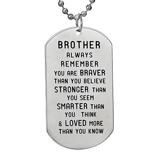 (BESPMOSP Brother Inspirational Gift You are Braver Than You Believe Pendant Necklace/Keychain Gift for Brother )