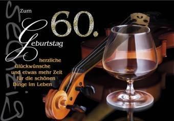 Karte Geburtstag Zahl 60, Silberprägung Cognacglas, 6 Stück