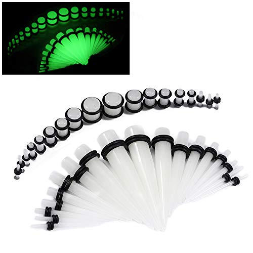 36 Pieces Gauges Kit Clear Glow In The Dark Radiant Acrylic Tapers and Plugs 14G-00G Stretching Kit Gift Box