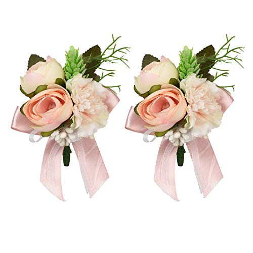 DearHouse 2Pc Peony Boutonniere Buttonholes Groom Groomsman Best Man Rose Wedding Flowers Accessories Prom Suit - Button Groomsman