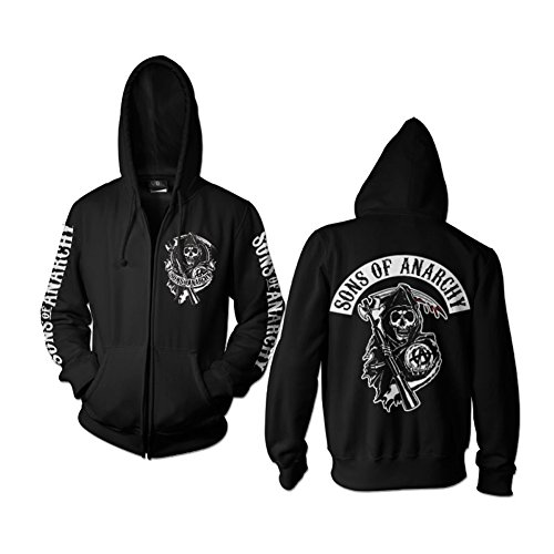 (Officially Licensed Merchandise SOA Backpatch Zipped Hoodie (Black), X-Large)