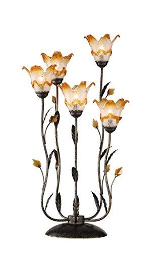 - OK Lighting OK-9143-T2 Windance Floral Table Lamp, 33-Inch, Dark Antique Bronze