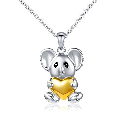 SILVER MOUNTAIN Sterling Silver Cute Koala Bear Love Heart Necklace Animal Jewelry for Women (Sterling Silver Koala)
