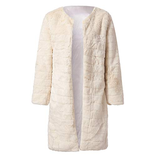 TANLANG Women Reversible Open Front Coat Lamb Wool Hooded Cardigan Jacket Teddy Coats Warm Tops Soild Color Long Tunic Beige