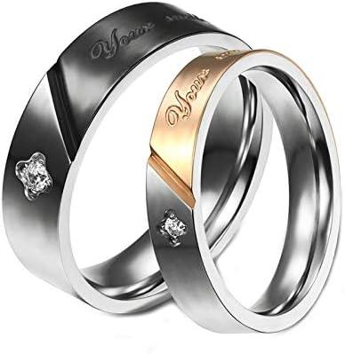 チタン鋼 ペアリング 男性&女性指輪 キラキラ キュービックジルコニア ブラック ゴールド カスタマイズ 無料刻印 メンズサイズ19&レディースサイズ11