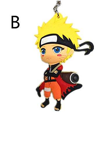 - Naruto Character Uzumaki Kakashi Sasuke Sakura Figure Pendant with Ring PVC Rubber Keychain Anime Cartoon Accessory (B)