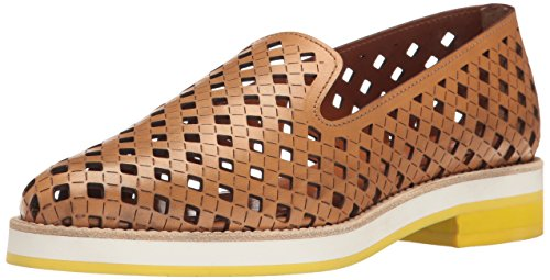 Aquatalia Women's Zanna Perforated Calf Slip-on Loafer, Tan, 8.5 M US