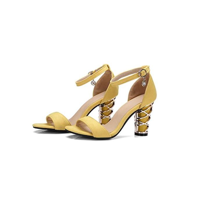 Nvlxie Ladies Sandals Summer Pu Alto Tacco Rough La Parola Fibbia Dew Toe Party Shopping Nero Giallo 8cm