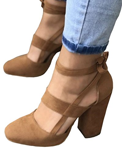 0d3a8e7cf74404 PRETTODAY Women Sexy High Heel Pumps Pink Color Suede Straps Thick High  Heeled Shoes (11, Brown) - Buy Online in Oman. | Apparel Products in Oman -  See ...