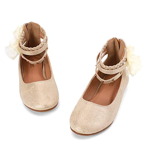 nerteo Girl's Princess Dress Shoes Ankle Strap Glitter Ballet Flats (Little/Big Kid) Gold 4 M US Big Kid]()