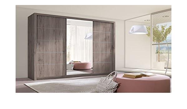 HomeDirectLTD Armario Berra Armario Espejo Muebles Armario Diseño Moderno Puertas correderas habitación Dormitorio Juvenil Mate San Remo (Oscuro): Amazon.es: Juguetes y juegos