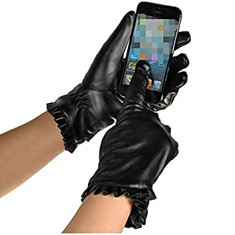 WUXiaodanDan Women's fashion cycling gloves driving gloves warm plus velvet gloves touch screen leather gloves (Color : Black, Size : 17-19cm)
