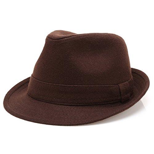 Men's Wool Blend Short Brim Trilby Fedora Hat with Band(Dark - Herringbone Fedora