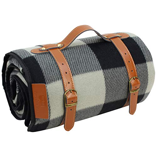 PortableAnd Extra Large Picnic & Outdoor Blanket for Water-Resistant Handy Mat Tote Spring Summer Great for the Beach,Camping on Grass Waterproof Sandproof, Black and White Checkered