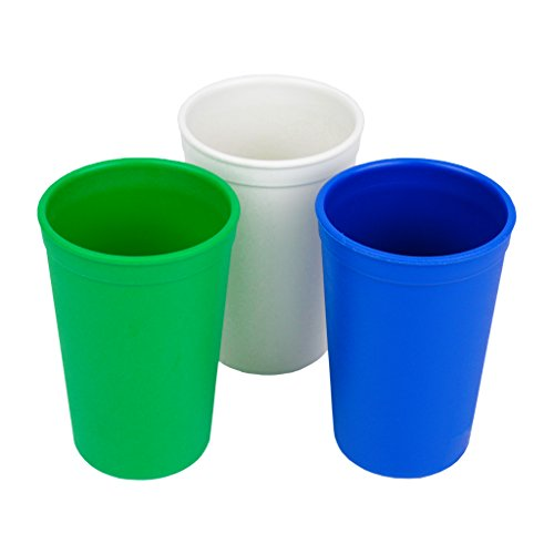 Re-Play Made in The USA 3pk Drinking Cups for Baby and Toddler - Kelly Green, White, Navy Blue (Nautical)