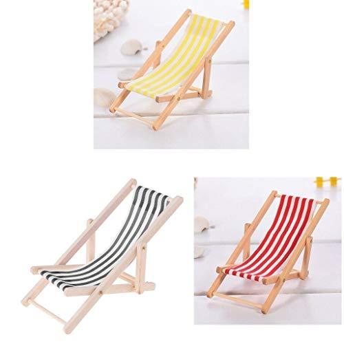 NATFUR 1:12 Miniature Dollhouse Wooden Beach Chair Longue Toys with Stripe 3pcs