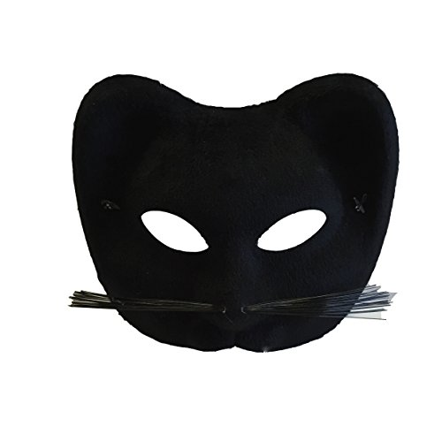 Women's Halloween Cat Eyes Masquerade Venetian Style Costume Mask (Black Velvet)
