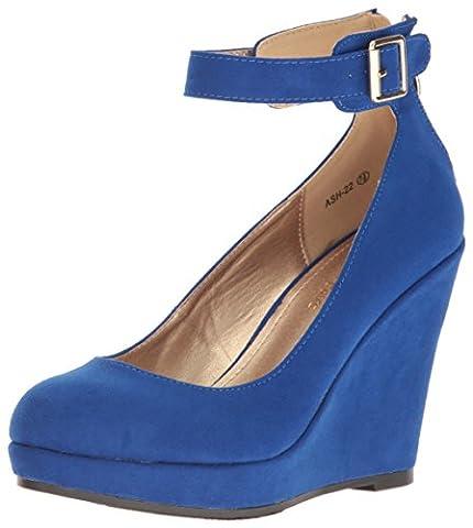 Dream Pairs Women's Ash-22 Wedge Pump, ROYAL BLUE SUEDE, 6 M US - Blue Suede Pump Shoes