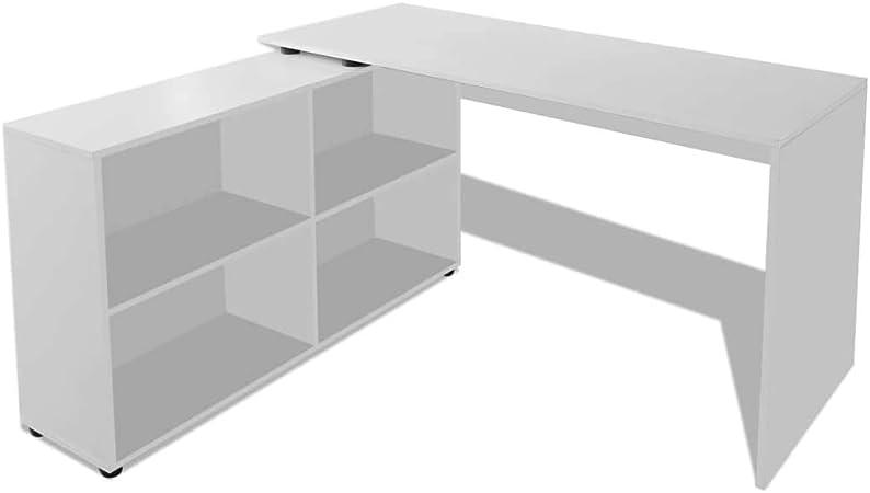 Tuduo Escritorio Angular con 4 estantes Blanca Elegante, cómodo y ...