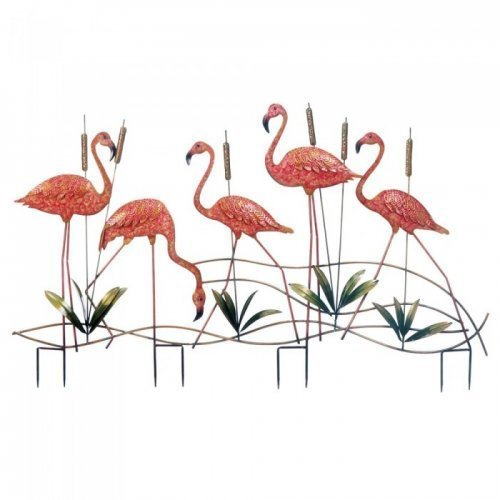 MD Group Garden Stake Flamingo Cattails & Five Glorious Pink Iron Sculpture Lawn Decor by MD Group