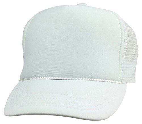 2 Pack Baseball Caps Blank Trucker Hats Summer Mesh Cap (2 FOR Price of 1) (White) ()
